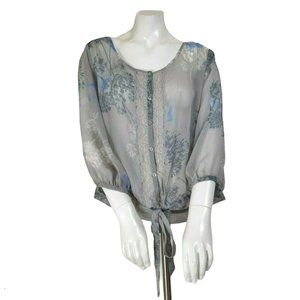 Express Gray Boho Butterfly Floral Semi-Sheer Top